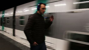 PARIS, FRANCE - March 22, 2016:  Train in subway, Metro in Paris, France. stock video footage