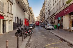 Paris, France, March 31 2017: Typical view of the Parisian street. Architecture and landmark of Paris Royalty Free Stock Photos