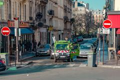 Paris, France, March 31 2017: Typical view of the Parisian street. Architecture and landmark of Paris Stock Image
