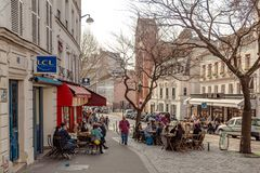 Paris, France, March 31 2017: Typical view of the Parisian street. Architecture and landmark of Paris Royalty Free Stock Image