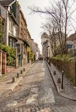 Paris, France, March 31 2017: Typical view of the Parisian street. Architecture and landmark of Paris Royalty Free Stock Photo