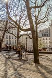 Paris, France, March 31 2017: Typical view of the Parisian street. Architecture and landmark of Paris Stock Photo