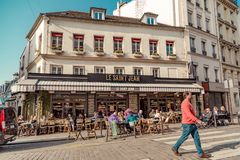 Paris, France, March 31 2017: Typical view of the Parisian street. Architecture and landmark of Paris Royalty Free Stock Images