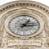 Paris, France, March 28 2017: View of the wall clock in D`Orsay Museum. D`Orsay - a museum on left bank of Seine, it is. Housed in former Gare d`Orsay in Paris Stock Photo