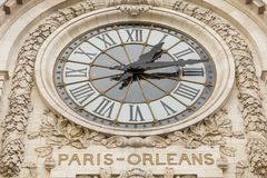 Paris, France, March 28 2017: View of the wall clock in D`Orsay Museum. D`Orsay - a museum on left bank of Seine, it is stock photography