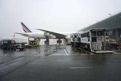 PARIS, FRANCE - 19 mars 2018 - aéroport de Paris couvert par la neige Photos libres de droits