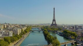 PARIS, FRANCE - MAY, 2019: Aerial drone view of historical city centre with Eiffel tower and Seine river.