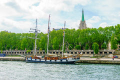 Paris, France - May 1, 2017: Ancient ship of the Seine river on Stock Photos