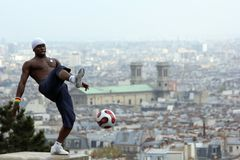 Paris, France - May , 14 April 2012 - Footballer freestyler, Iya Traore from Guinea, Montmartre. stock image