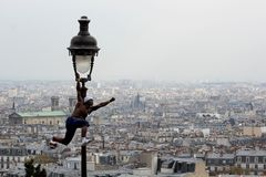 Paris, France - May , 14 April 2012 - Footballer freestyler, Iya Traore from Guinea, Montmartre. stock photography