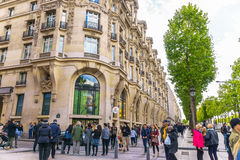 Paris, France - May 1, 2017: Beautiful architecture on Champs-É. Paris, France - May 1, 2017: Beautiful architecture on Champs-Élysées Avenue with a Stock Photography