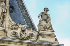 Paris, France - May 1, 2017: a beautiful architecture on the roo. F of the Cour Napoleon at the Louvre Museum on May 1, 2017, in Paris, France Stock Images
