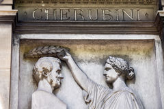 PARIS, FRANCE - MAY 2, 2016: Cherubini grave in Pere-Lachaise cemetery homeopaty founder Stock Image