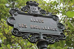 Paris, France - may 23, 2014 - Famous Montmartre. In Paris, Montmartre offers sites of interest for walkers.  Allée des Brouillards  is a small and pretty path Stock Photos