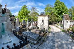 PARIS, FRANCE - MAY 2, 2016: old graves in Pere-Lachaise cemetery Stock Image