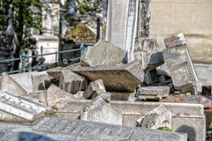PARIS, FRANCE - MAY 2, 2016: old graves in Pere-Lachaise cemetery Royalty Free Stock Image