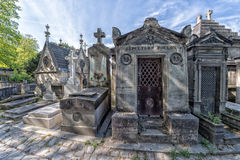 PARIS, FRANCE - MAY 2, 2016: old graves in Pere-Lachaise cemetery Royalty Free Stock Photography