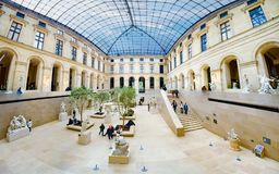 Panorama of Sculpture hall of the Louvre museum, Paris, France stock photos