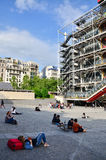Paris, France - May 14, 2015: People relaxing at plaza in front of  Centre of Georges Pompidou Stock Photo
