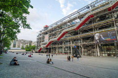 Paris, France - May 14, 2015: People visit Centre of Georges Pompidou Stock Photos