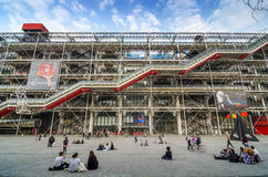 Paris, France - May 14, 2015: People visit Centre of Georges Pompidou Royalty Free Stock Image