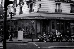 Paris, France: May 27, 2015, a restaurant on the street in Paris. Black and white image royalty free stock photography