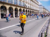 Paris. France. May 2018. Roller skating marathon in the center streets of Paris royalty free stock photo