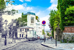 Paris, France - May 27, 2015: street in paris in the Montmartre area on a sunny day with green trees and a blue sky. Old retro pencil style photo Royalty Free Stock Photography