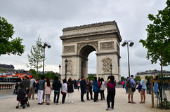 Paris, France - May 14, 2015: Tourist visit Arc de Triomphe in Paris. Paris, France - May 14, 2015: Tourist visit Arc de Triomphe de l'Etoile in Paris. Arc de Royalty Free Stock Photography
