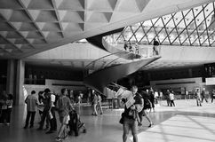 Paris, France - May 13, 2015: Tourists visit Interior of Louvre museum Royalty Free Stock Image