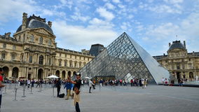 Paris, France - May 13 2015: Tourists visiting Louvre Museum in Paris stock video footage