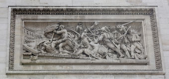 Triumphal arch on the Champs Elysees.Bas-relief. Paris; France- May 01; 2017: Triumphal arch on the Champs Elysees.Bas-relief `The Battle of Arcola with the stock photography