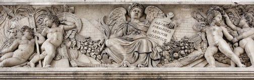 Triumphal arch on the Champs Elysees.Sculpture decoration. Paris; France- May 01; 2017: Triumphal arch on the Champs Elysees.Sculpture decoration stock image