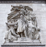 Triumphal Arch. Sculpture. Paris; France- May 01; 2017:Triumphal Arch. Sculpture `Triumph of 1810` on the occasion of the signing of the Vienna Peace Treaty Royalty Free Stock Photography