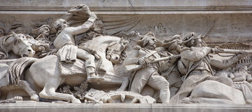 The triumphal arch. On the walls there are battles. Battle of J. Paris; France- May 01; 2017:The triumphal arch.On the walls there are battles. Battle of Jemapp Stock Images