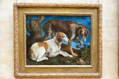Dogs - Famous ancient painting in Louvre museum Stock Photo