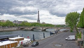 View of the Bridge of the Invalides and the Port de Cham-Elise. Royalty Free Stock Photos