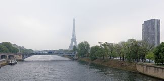 View of the Grenelle Bridge. On the embankment are moving cars Royalty Free Stock Photography