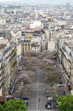 Paris, France - May 14, 2015: View of street in Paris. From the Arc de Triomphe, France Stock Photos