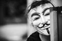 Woman with Vendetta mask Royalty Free Stock Photo
