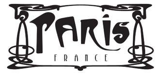 Paris France Metro Art Deco Logo Sign. Aris France Metro Art Deco Logo Sign Isolated Black White Pari Metropolitan Underground Subway City of French Bistro stock illustration