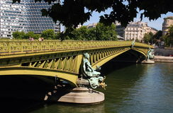 Paris. France: Mirabeau Bride over Seine River royalty free stock image