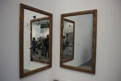 Paris, France, Modern Art Exhibit, FIAC, Contempor. Ary Sculpture, Artist: Michelangelo Pistoletto, Two Less One, Mirror, 2009 Stock Photo