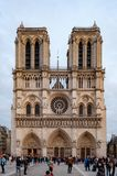 Paris, France, October 26, 2017. Front view of the Cathedral of Notre Dame royalty free stock images