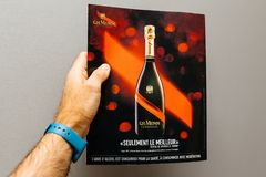 Advertising in French magazin on the rear page for the G.H.Mumm Royalty Free Stock Photos