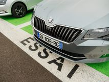 Essai text translated as Test Drive cars with Skoda Superb and O. PARIS, FRANCE - NOV 7, 2017: Essai text translated as Test Drive cars with Skoda Superb luxury Royalty Free Stock Photography