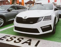Essai text translated as Test Drive cars with Skoda Superb. PARIS, FRANCE - NOV 7, 2017: Essai text translated as Test Drive cars with Skoda Superb and Octavia Royalty Free Stock Images