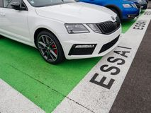 Essai text translated as Test Drive cars with Skoda Superb and O. PARIS, FRANCE - NOV 7, 2017: Essai text translated as Test Drive cars with Skoda Superb and Stock Image