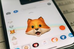 Fox animal 3d animoji emoji generated by Face ID facial recognit. PARIS, FRANCE - NOV 9 2017: Fox animal 3d animoji emoji generated by Face ID facial recognition Stock Image
