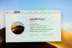 New Apple Mac Mini 2018 computer. PARIS, FRANCE - NOV 7, 2018: MacOS Mojave running on the new Apple Mac Mini computer with the new processor cpu, 64 DDR4 RAM stock images